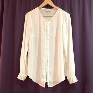 Sheer blouse with stud detail